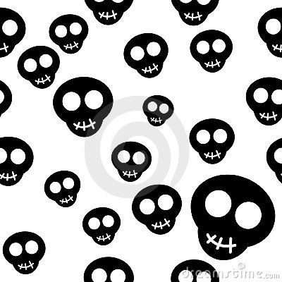 Seamless pattern with black skulls