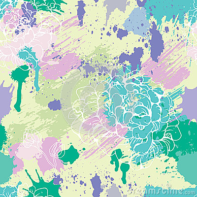 Seamless pattern with blots, ink splashes Vector Illustration
