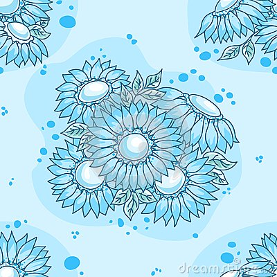 Seamless pattern blue flowers bouquet.