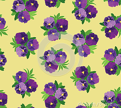 Seamless pattern with bouquets of violet  flowers