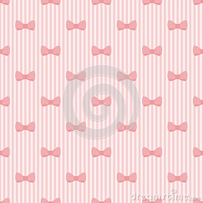 Seamless vector pattern with bows on pink strips b