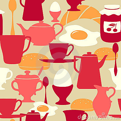 Seamless pattern with breakfast theme