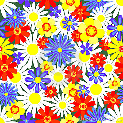 Seamless pattern bright flowers.