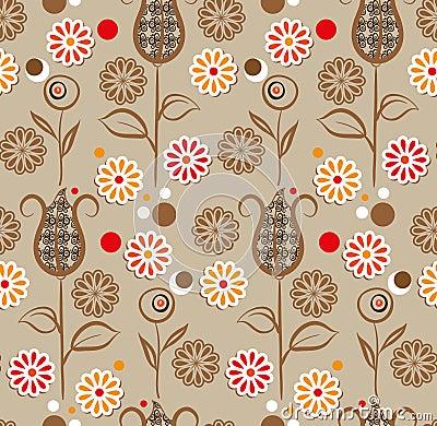 Seamless pattern - brown flowers