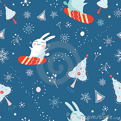 Seamless pattern of bunnies on snowboards