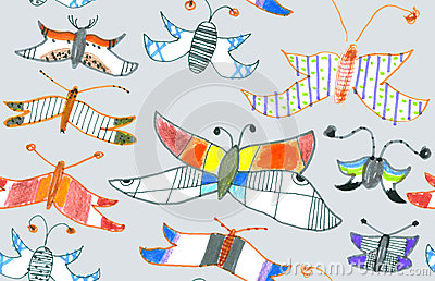 Seamless pattern of butterflies and moths. Hand-dr