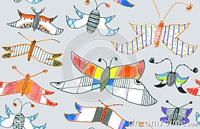Seamless pattern of butterflies and moths. Hand-dr