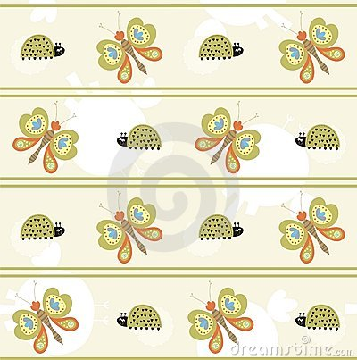 Seamless pattern with butterfly and ladybug