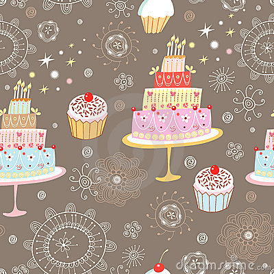 Seamless pattern cakes