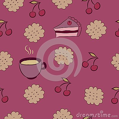 Seamless pattern with cakes, cherry and coffee.