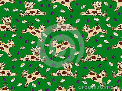 Seamless pattern with calves on the meadow