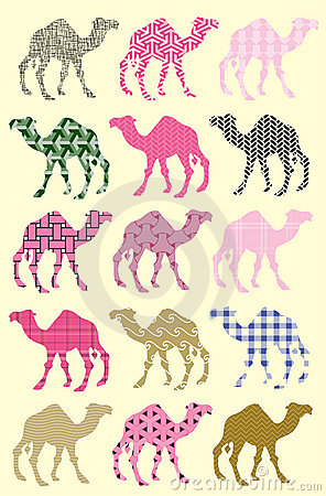 Seamless pattern with camels