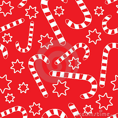 Seamless pattern with candycanes and stars