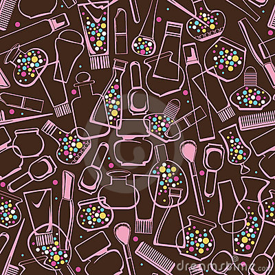 Seamless pattern of care products and cosmetics