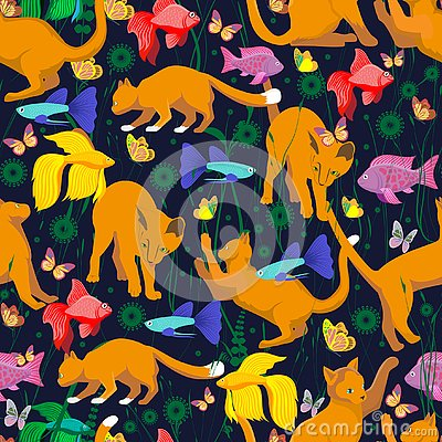 Seamless pattern with a carroty cat Stock Photo