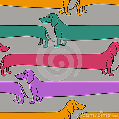 Seamless pattern with cartoon Dachshund dogs