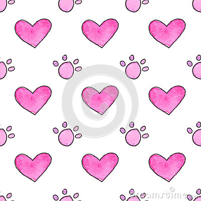 Seamless Pattern With Cartoon Paws And Hearts. Hand-drawn ...