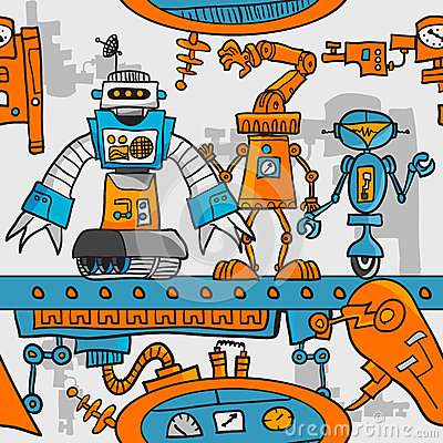 Seamless pattern cartoon robots on the assembly