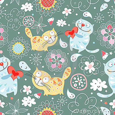 Seamless pattern of cat lovers