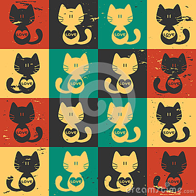 Seamless pattern cats with hearts