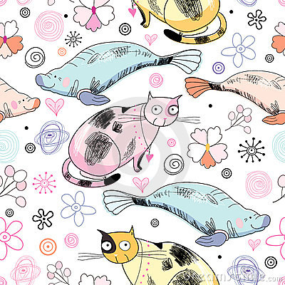 Seamless pattern of the cats and marine animals