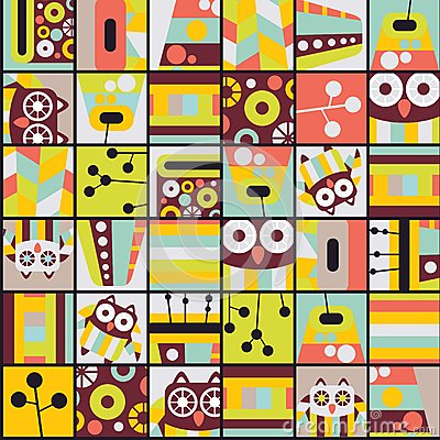 Seamless pattern with cell owls.