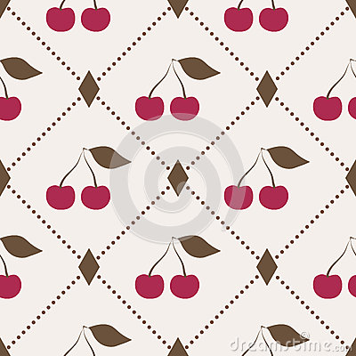 Seamless pattern with cherries and polka dot rhomb