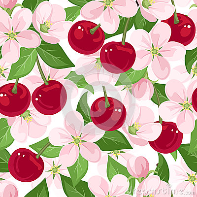 vector seamless pattern with cherry berries and fl
