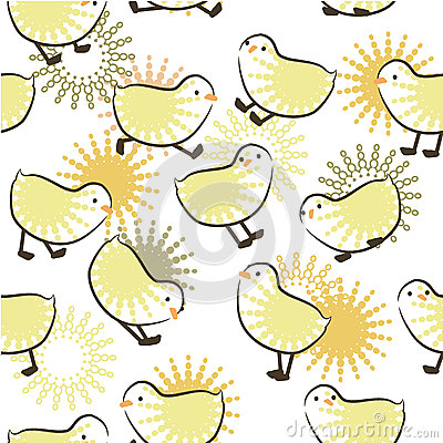 Seamless pattern with chicks