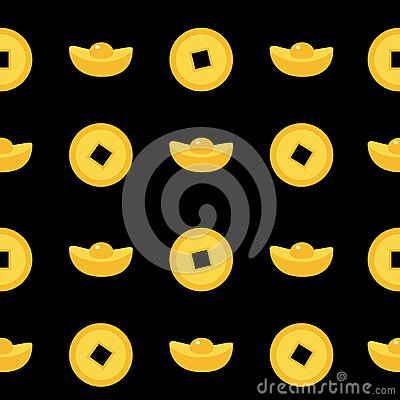 Free Seamless Pattern Chinese Coin Gold Ingot Set. China Money Square Centre. Golden With Hole. Happy New Year Symbol Atribute. Black B Stock Images - 79727244