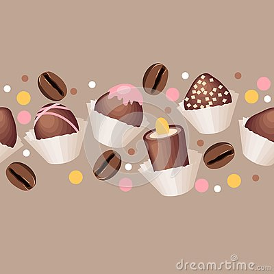 Seamless pattern with chocolate sweets