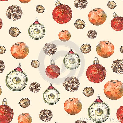 Seamless pattern with christmas decoration Stock Photo