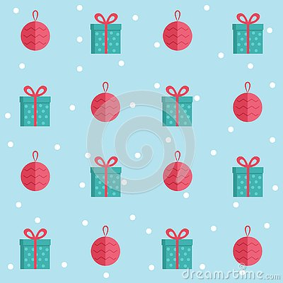 Seamless Pattern with Christmas Flat Icons. Cute vector cartoon Illustration. Christmas gift and ball. Vector Illustration