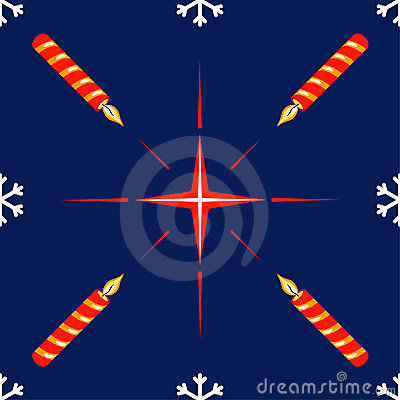 Seamless pattern with christmas star and candle