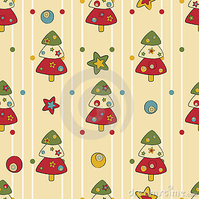 Seamless pattern with Christmas trees and stars