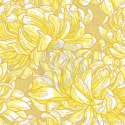 Seamless pattern with chrysanthemum