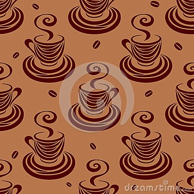 Seamless pattern coffee cups and beans