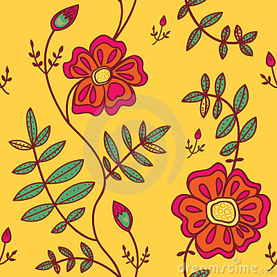Seamless pattern with color flowers