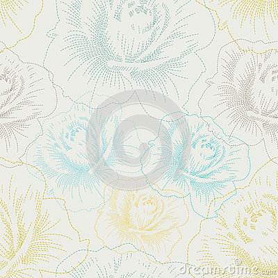 Seamless pattern with color hand drawing roses