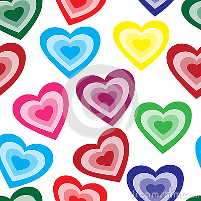 Seamless pattern from color hearts Vector Illustration