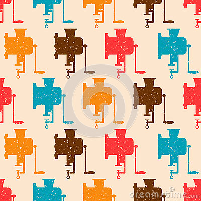 Seamless pattern with color retro grinders