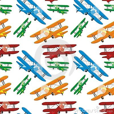 Seamless pattern of colored airplanes