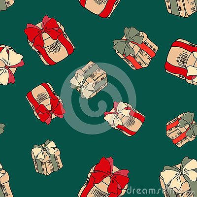 Seamless pattern with colorful gifts on green background. Christmas presents with red ribbons. Merry christmas seamless pattern. Vector Illustration