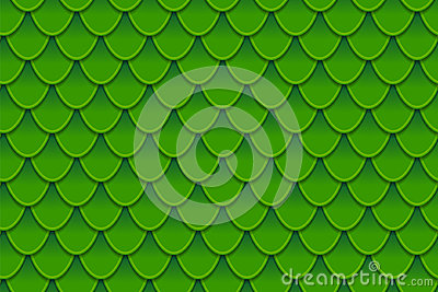 Seamless pattern of colorful green fish scales. Fish scales, dragon skin, Japanese carp, dinosaur skin, pimples, reptile Vector Illustration