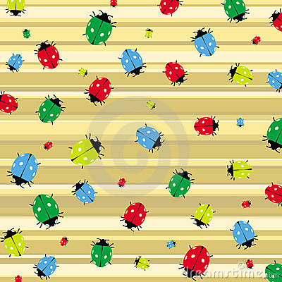 Seamless pattern with colorful ladybirds vector