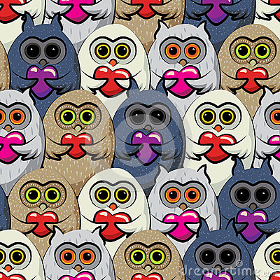 Free Seamless Pattern Colorful Owls With Hearts. Royalty Free Stock Image - 48982636