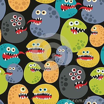 Seamless pattern with colorful virus monsters. Vector Illustration