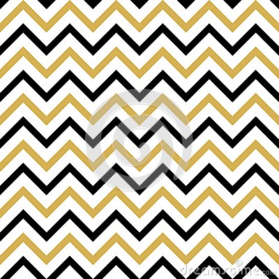 Seamless pattern with black and gold zigzag Stock Photo