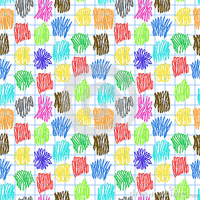 Seamless pattern with colour scrawl