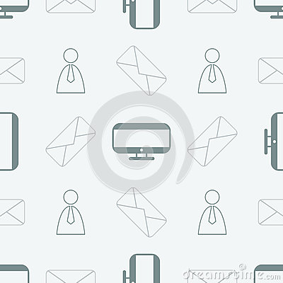 Seamless pattern with computer, message and people Vector Illustration